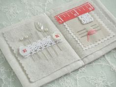 Auction #1 - Linen, Pearl & Coral Needlebook - Pretty by Hand -
