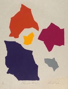 Channels no. 2, (1977-1978) by David Aspden :: Art Gallery NSW colour woodcut, printed on Japanese Mulberry paper
