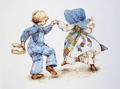 Wedding Dancing n 1977 Sarah Kay, Holly Hobbie, Toot & Puddle, American Greetings, Vintage Comics, Cute Illustration, Childhood Memories, Sunbonnet Sue, Illustrators
