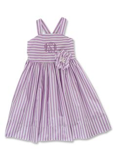 Kelly's Kids Vintage Crossback Dress and Purple Stripe Flower (attached to dress here but sold separately). To order at 30% off go to www.kellyskids.com/laurajones.