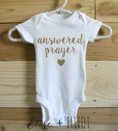 Answered Prayer Gold Glitter Onesie - Hospital Outfit - Baby Girl Baby Boy Coming Home Outfit - Newborn Photo Outfit by eliseandelliot on Etsy