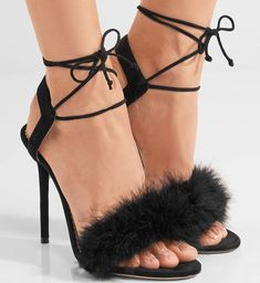 071f1ed93 Charlotte Olympia Salsa feather-embellished suede sandals   CharlotteOlympiaHeels Sandalias De Ante