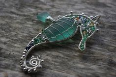Sea glass Seahorse with emerald and sapphires. SOLD. | Flickr - Photo Sharing!