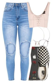 """Untitled #5643"" by rihvnnas ❤ liked on Polyvore featuring Sonix, Topshop and Vans"