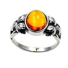 Sterling Silver Natural Honey Baltic Amber Ring by TheSilverPlaza