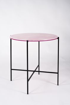 HAYMANN Editions I Side tables, tray from onyx and acrylic. Round shape.