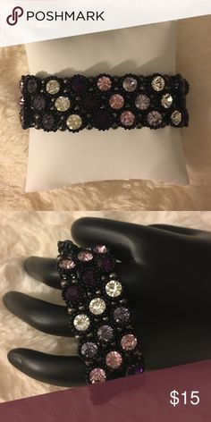 Fabulous bracelet Colorful rhinestone all round bracelet.. Purple pink and clear rhinestones Jewelry Bracelets