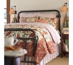 What goes with Pottery Barn Vintage Ticking Comforter?  Benj Moore Urban Nature AF-440, Million Dollar Red 2003-10, Safari AF-335