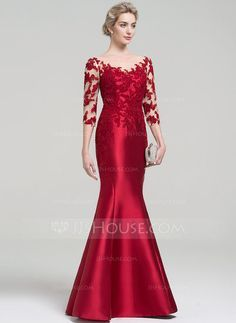 Trumpet/Mermaid Scoop Neck Floor-Length Zipper Up Covered Button Sleeves Sleeves No Burgundy Winter Spring Summer Fall General Plus Satin US 2 / UK 6 / EU 32 Evening Dress Girls Formal Dresses, Gala Dresses, Elegant Dresses, Beautiful Dresses, Formal Gowns, Mom Dress, Lace Dress, Dress Brokat, Chiffon Gown