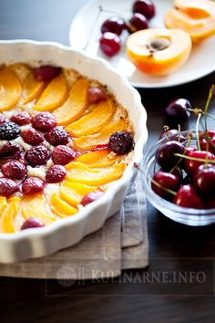 Apricots tart with cherries