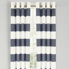 Features:  -Unlined.  -Dimensions are from the top of the curtain panel to the bottom of the panel.  Product Type: -Panel pair.  Pattern: -Striped.  Color: -Blue; White.  Material: -100% Cotton. Dimen