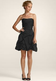 Black Short Strapless Pick Up Bridesmaid Dress G107