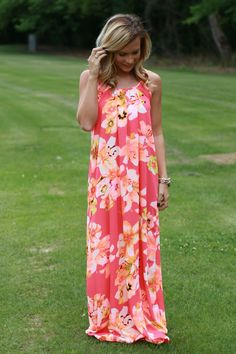 Brighter Than The Sun Maxi: Neon Coral - Off the Racks Boutique