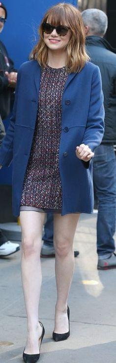 Emma Stone:Dress – Christian Dior  Coat – Max Mara  Sunglasses – Oliver Peoples  Shoes – Christian Louboutin