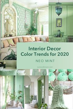 Interior Decor Color Trends For 2020 - Fresh, futuristic and high tech, Neo Mint is predicted to be the new Millennial Pink in 2020 accord - Green Rooms, Decor, Green Interiors, Colorful Decor, Green Home Decor, Blue Decor, Trending Decor, Home Decor, Mint Green Rooms