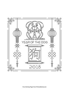 Chinese New Year Coloring Pages EBook Of The Dog 2018