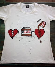 Nutella handpainted tshirt. Love chocolate white by palettePandora