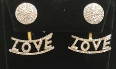 "14 k Gold Love Diamond Earrings. Genuine handmade pave diamond Earrings. Approx Size 1.00 ""(25 x 23 mm)"