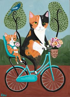 Mothers Day Bicycle Ride Original Cat Folk by KilkennyCat Art on Cute Kittens, Cats And Kittens, Memes Arte, Photo Chat, Watercolor Paintings Abstract, Hindu Art, Here Kitty Kitty, Cat Drawing, Whimsical Art
