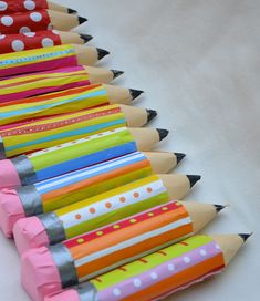"Adorable ""pencils"" made from cardboard tubes & other supplies that are filled with goodies- would be great for treat at the start of school!"