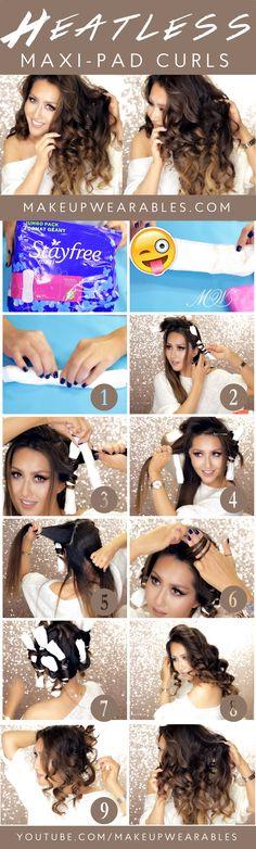 Weird Hair Hack - Heatless Maxi Pad Curls Overnight - Hairstyles