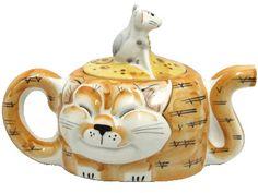 """Чайник фарфоровый """"Два кота"""" Длина: - 25 см Высота: - 16 см Ширина: - 14 см Вес: - 1 кг"""
