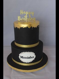 Two Tiered Black And Gold Sequin 60th Birthday Cake Yadi