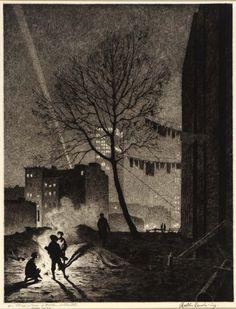 Martin Lewis (1881-1962)  Tree, Manhattan.  Drypoint, 1930.