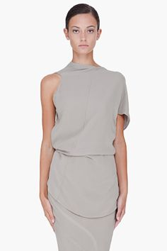 Rick Owens Taupe Silk Tie-up Blouse for Women | SSENSE
