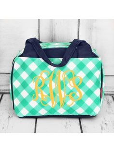 www.ewam.com Mint and White Diamond Gingham Insulated Bowler Style Lunch Bag
