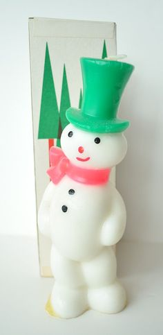 Vintage Gurley Co. Snowman Candle