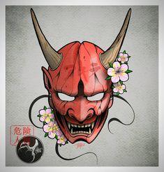 Hannya Mask Tattoo, Hanya Tattoo, Japanese Mask Tattoo, Japanese Tattoo Designs, Art Vampire, Vampire Knight, Mascara Hannya, Hannya Maske, Oni Art
