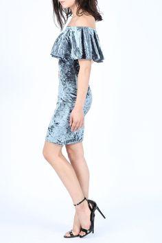 New Womens Ladies OFF SHOULDER CRUSHED VELVET BARDOT FRILL Midi Dress UK 8-14   eBay
