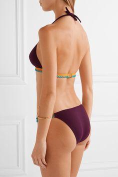 Eres - Cordoba Panama Whipstitched Triangle Bikini Top - Grape - FR