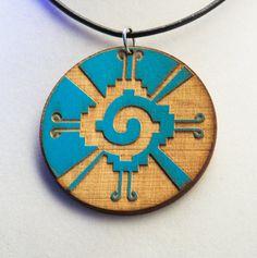 Hunab Ku Mayan Pendant Wood Neon Blue Request by focusfactory