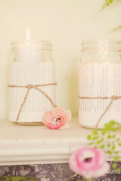 votive candles wrapped in old book pages // photo by MariaMackPhotography.com