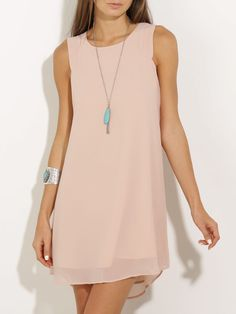 Party dresses > Chiffon Shift Dress In BlushCute fashion outfits ideas - Fashion, Home decoratingProduct name: Pink Sleeveless Round Neck Dress at SHEIN, Category: Dresses Casual Dresses For Women, Cute Dresses, Short Dresses, Summer Dresses, Clothes For Women, Party Dresses, Chiffon Dress, Pretty Outfits, Dress Patterns