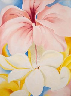 Georgia O Keefe Flower Paintings Names | Hibiscus with Plumeria by Georgia O'Keeffe / American Art