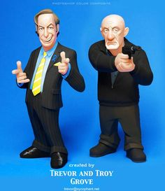 Cartoon-like Breaking Bad figures, by Trevor and Troy Grove from Sideshow Collectibles.