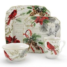 christmas dinnerware sets | 222 Fifth Holiday Wishes Dinnerware Set.  sc 1 st  Pinterest & 222 Fifth Dinnerware Yuletide Celebration 16 Piece Set - Fine China ...
