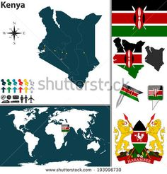 Vector of Kenya set with detailed country shape with region borders, flags and icons