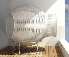 Sight is a unique outdoor/balcony furniture designed by German designer Tim Kerp. The furniture is made of woven plastic with an upholstered interior.