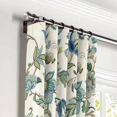 Jacobean Blue Floral Curtains with Pocket