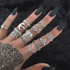 """Universe of goods - Buy """"H:HYDE 21 Style Vintage Knuckle Rings for Women Boho Geometric Flower Crystal Ring Set Bohemian Midi Finger Jewelry Bague Femme"""" for only USD. Engagement Ring Rose Gold, Wedding Ring, Party Wedding, Boho Jewelry, Jewelry Accessories, Fashion Jewelry, Jewelry Rings, Women Jewelry, Silver Jewelry"""