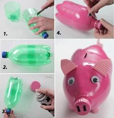 DIY plastic bottle medusas – This is a very easy craft and good toy for little children. You have to use only a plastic bottle to make it. source Home made piggy bank I love this idea! This piggy bank is made of plastic bottle. Reuse Plastic Bottles, Plastic Bottle Crafts, Recycled Bottles, Pop Bottle Crafts, Plastic Recycling, Recycling Ideas, Empty Bottles, Water Bottles, Pig Crafts