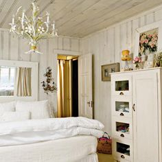 Cottage White - Master Bedroom Decorating Ideas - Southern Living Check out the tole chandelier. Dream Bedroom, Home Bedroom, Bedroom Decor, Master Bedrooms, Bedroom Ideas, Bedroom Small, Bedroom Designs, Bedroom Inspiration, Bedroom Furniture