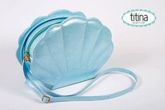 the sea shell bag in iridescent pastel blue mermaid by TitinaStore