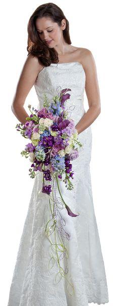 An elegant cascade bouquet with modern bling. (Oasis Floral Design Ideas   Ideas Using Oasis Floral Foam)