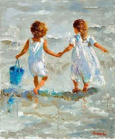 BEST FRIENDS AND THEIR BLUE BUCKET. JOYCE NORWOOD FINE ART