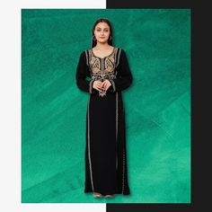 Adorned with both machine embroidery and hand work, this black Kaftan Maxi Dress is just the outfit you need for an effortless trendy look! Product no: C-799 Modern Abaya, Black Kaftan, Kaftan Abaya, Party Wear, Machine Embroidery, How To Wear, Outfits, Dresses, Style